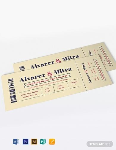 wedding invitation concert ticket