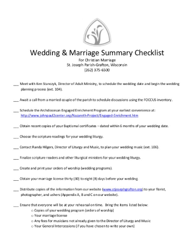wedding marriage summary checklist