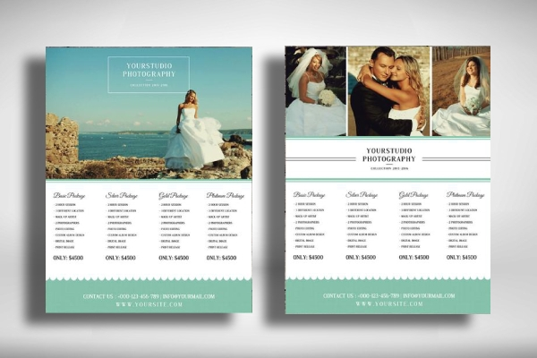 wedding photography pricing guide flyer