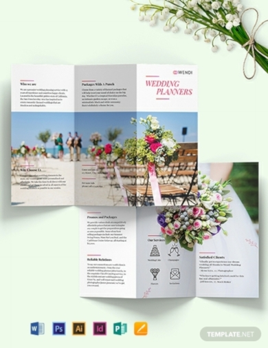 wedding planners tri fold brochure