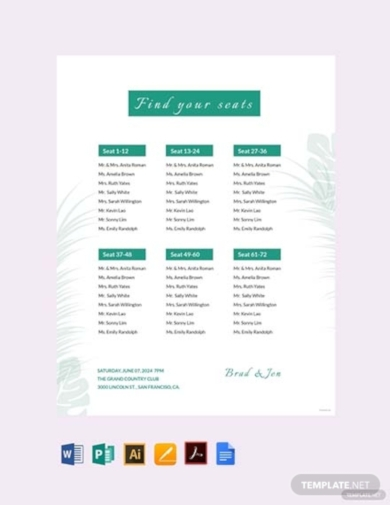 wedding reception seating chart plan