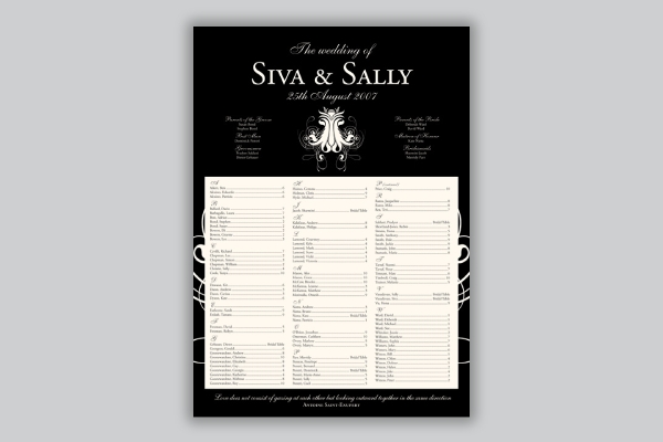 wedding seating chart in alphabetical order