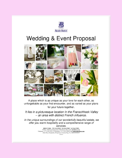 wedding and event package proposal