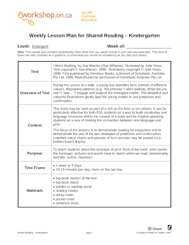 weekly lesson plan for shared reading