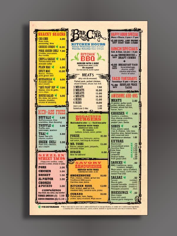 wild west themed bar menu