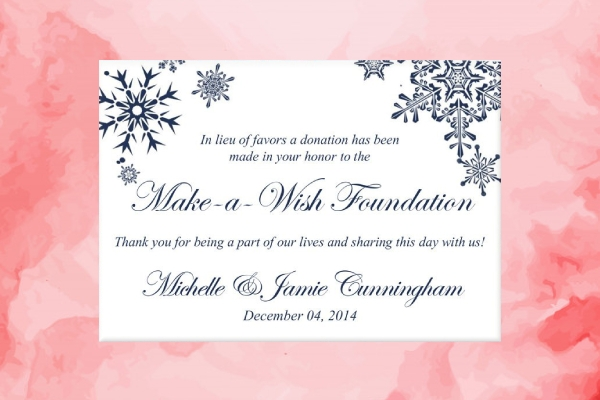 winter wedding charity favor donation card