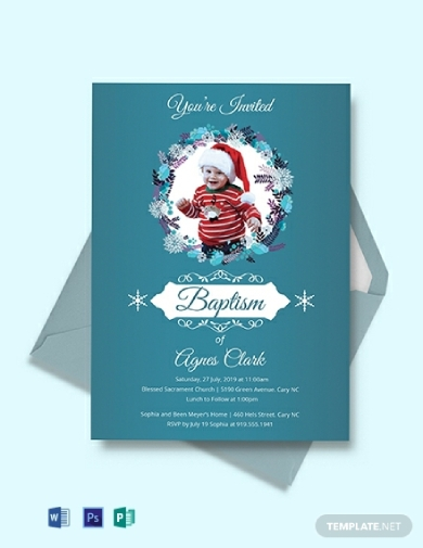 winter themed christening invitation