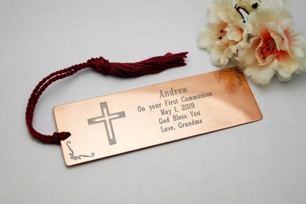 engraved baptism bookmark