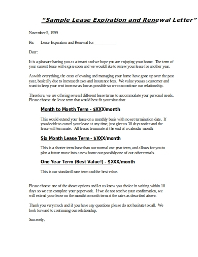 lease expiration and renewal letter