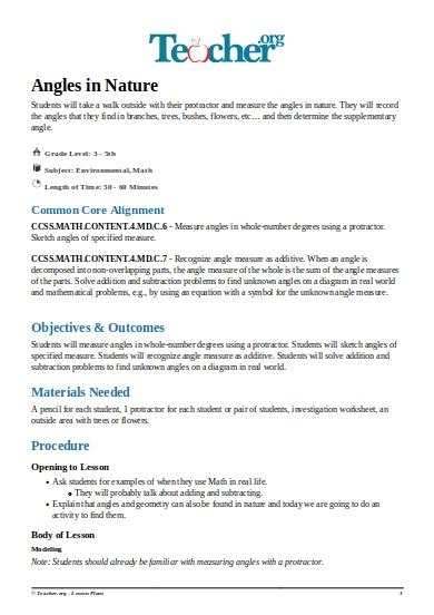 math common core lesson plan