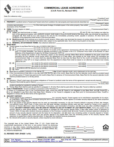 Free 9 Real Estate Lease Agreement Examples Templates