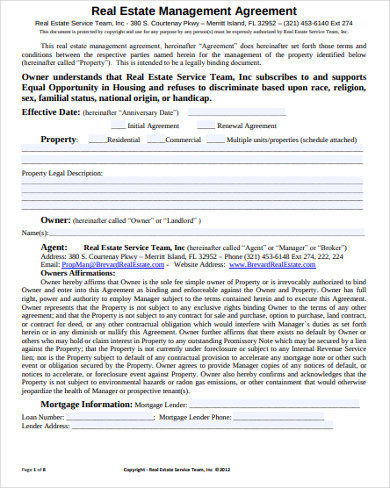 real estate management service agreement
