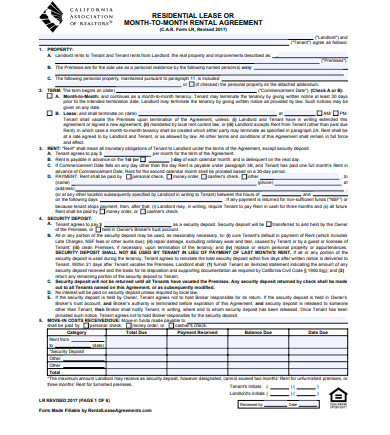 real estate rental lease agreement