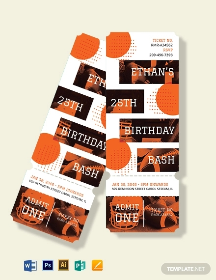 sports birthday ticket