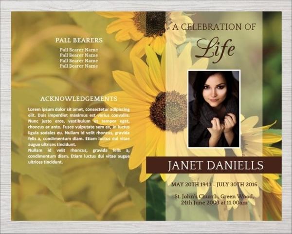 sunflower funeral program