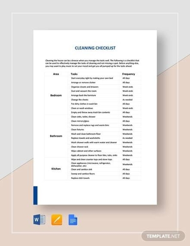 image regarding Printable House Cleaning Checklist identify Free of charge 10+ Least difficult Dwelling Cleansing Record Illustrations Templates