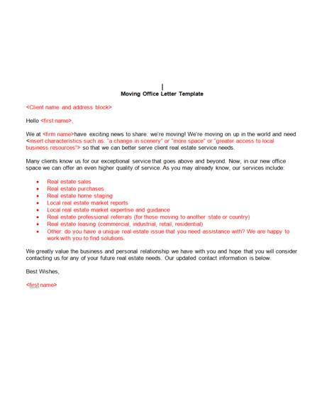 10 real estate moving announcement letter