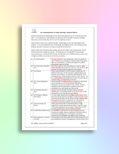 20 point tenant screening checklist