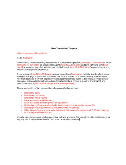 10  real estate announcement letter examples  u0026 templates