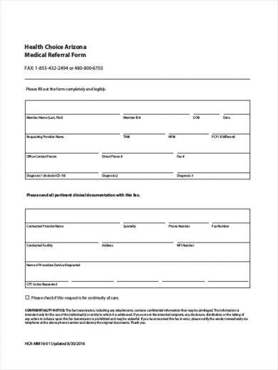 Free 10 Best Medical Referral Form Examples Templates