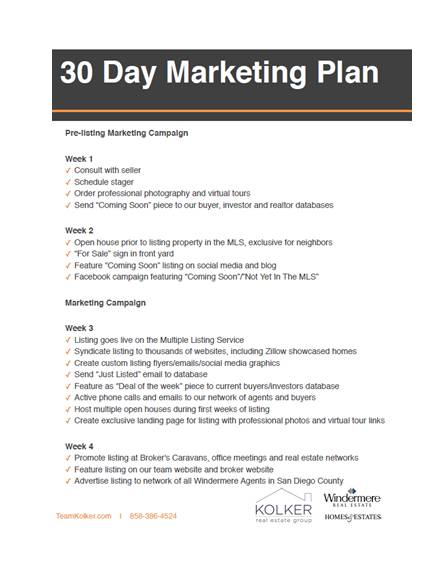 30 day real estate marketing plan