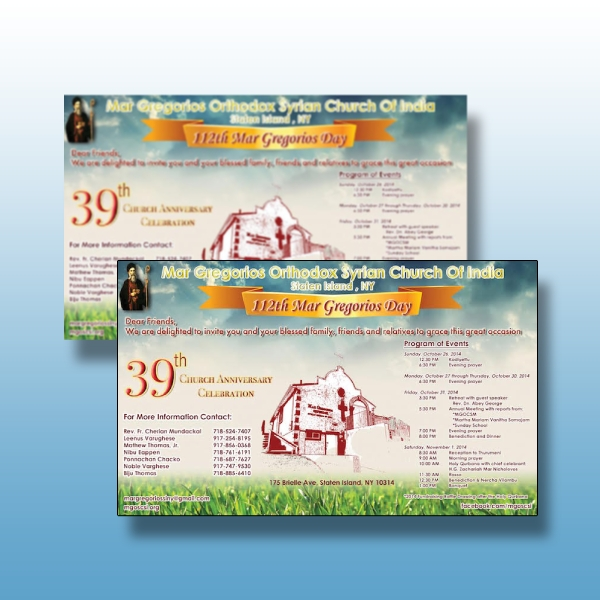 39th church anniversary program