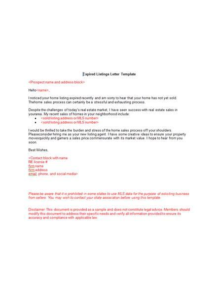 4 real estate expired listing marketing letter