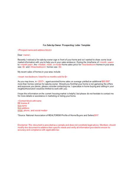 5 real estate for sale by owner marketing and prospecting letter
