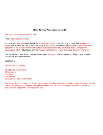 6 real estate home for sale announcement letter