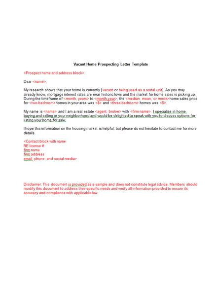 6 real estate vacant home marketing and prospecting letter