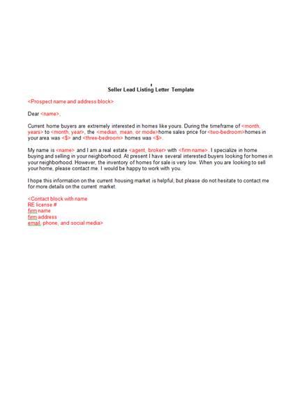 8 simple real estate seller listing marketing letter1