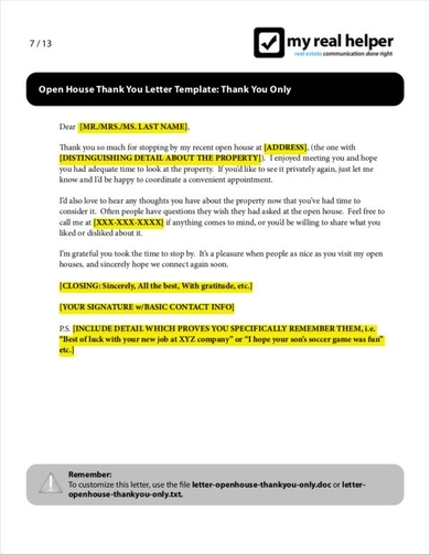 Real Estate Thank You Letter Examples