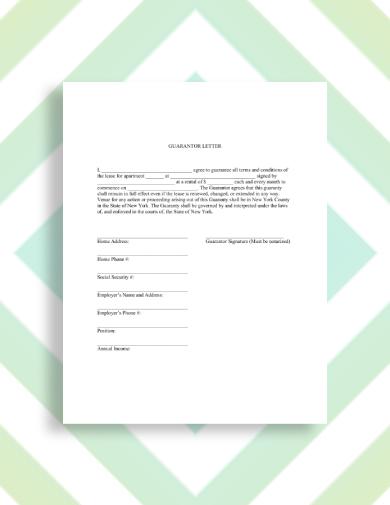 apartment rental guarantor letter