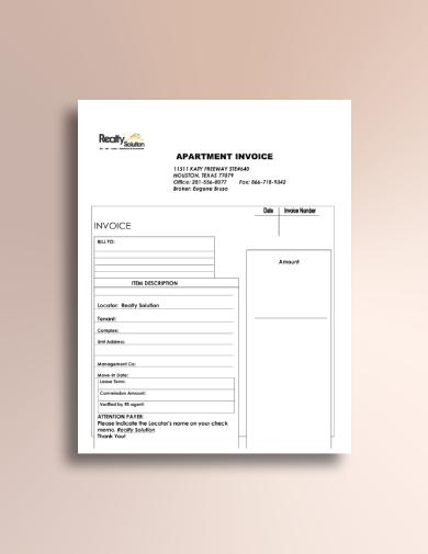 apartment rental invoice