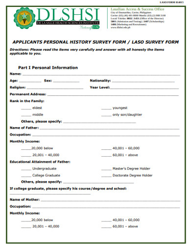 applicant personal history survey form