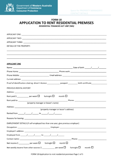application form to rent residential premises