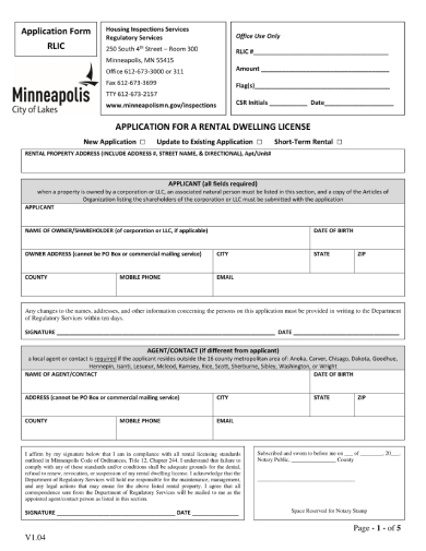 application for rental dwelling license
