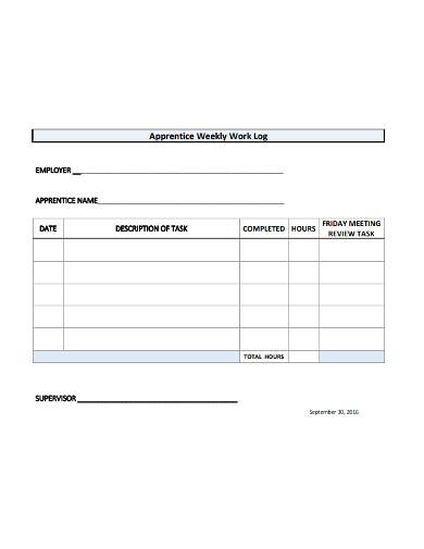 apprentice weekly work log