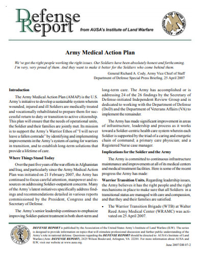 army medical action plan