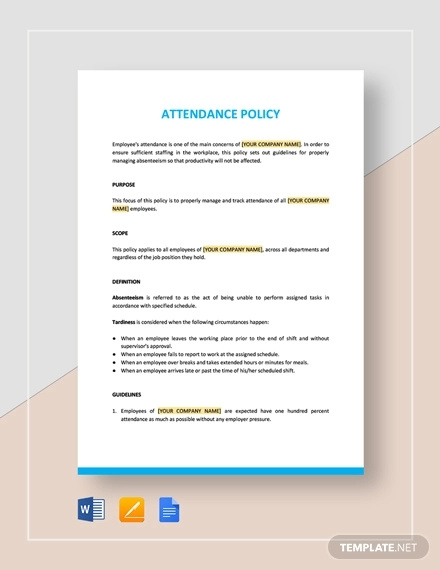attendance policy template