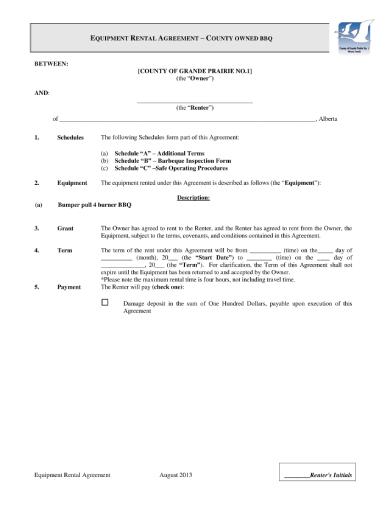bbq equipment rental agreement