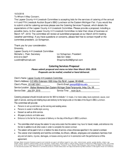 bbq luncheon catering services proposal