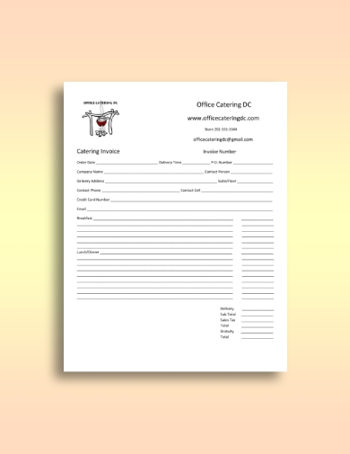 basic office catering invoice form