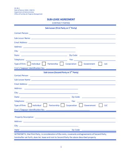 basic rental sublease agreement
