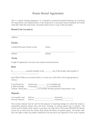 basic room rental agreement template example