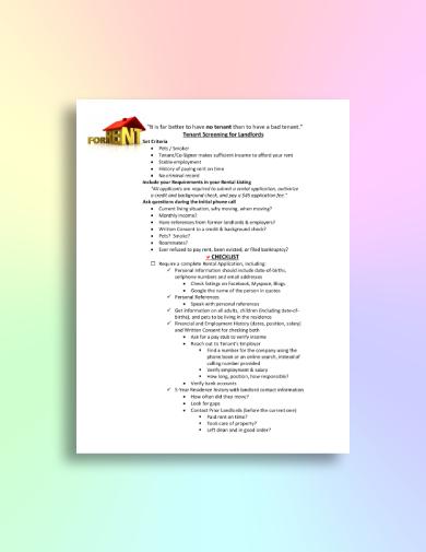 basic tenant screening checklist