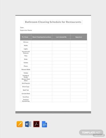 bathroom cleaning schedule for restaurants template