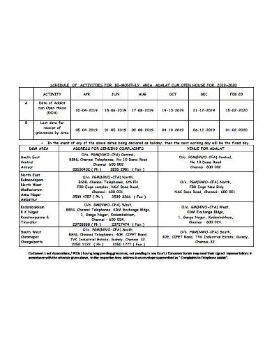 bi monthly activities schedule