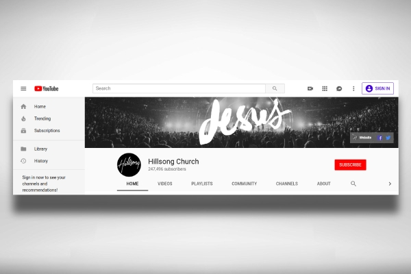 black and white church youtube channel art