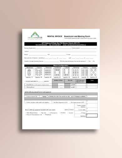 boardroom and meeting room rental invoice